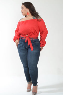 Red Off the Shoulder Long Sleeve Tie Front Top