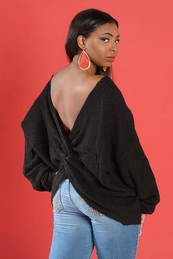 Black Deep Plunge Twist Back Sweater