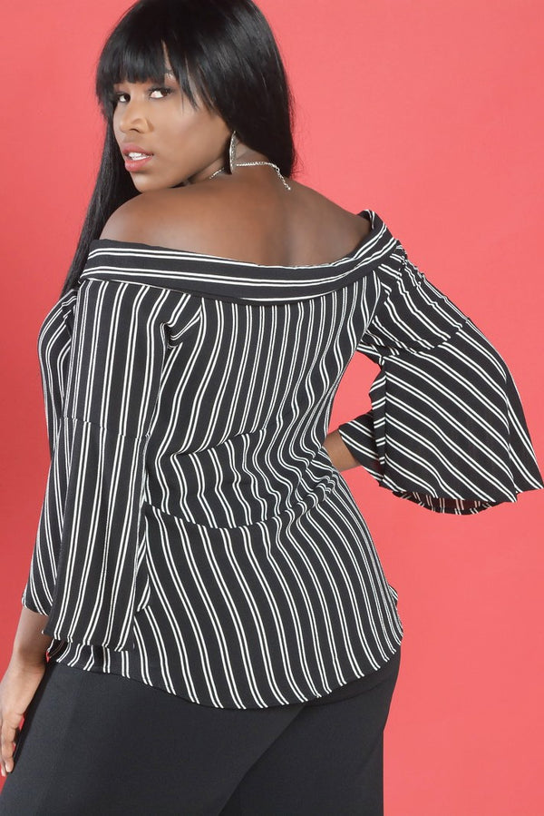 Black and White Stripe off the Shoulder Blouse