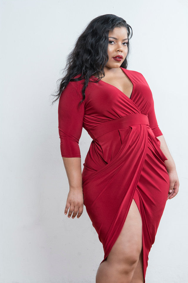 Red Draped Surplice Hi Lo Midi Dress