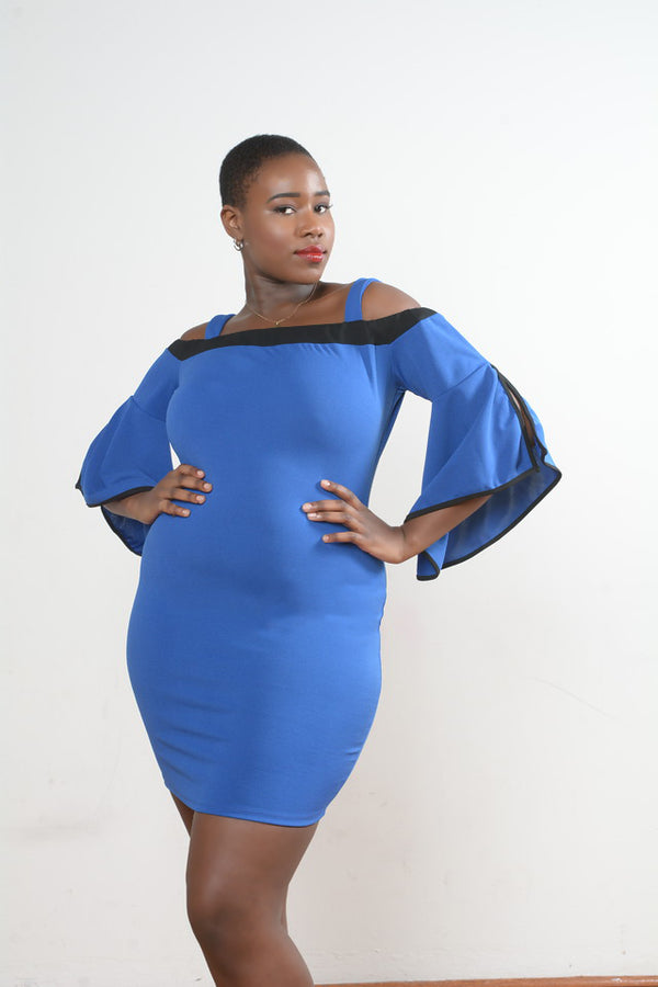 Royal Blue Bell Sleeves Bodycon Dress