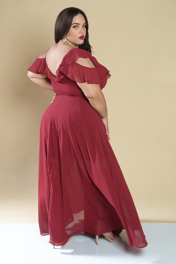 Red Ruffle Chiffon Maxi Dress