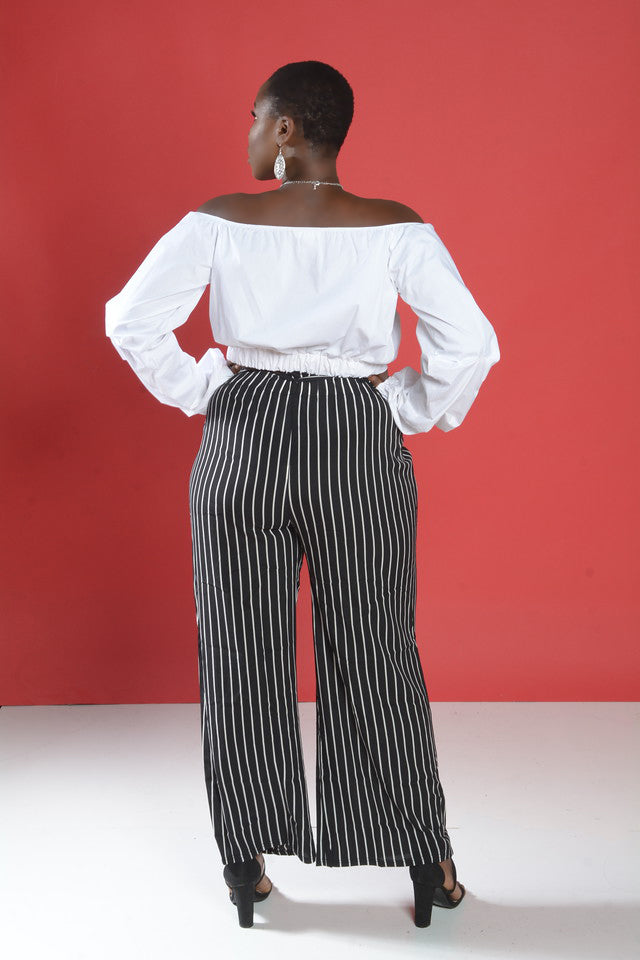 Black and White Stripe Paper Bag Pants