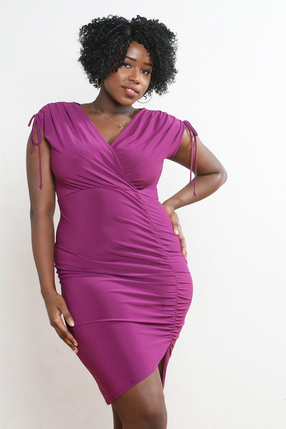 Purple Ruched Bodycon Dress
