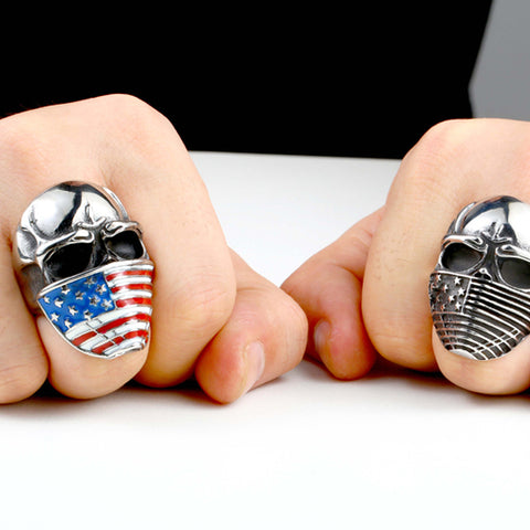 Stainless steel Skull Ring with the American flag