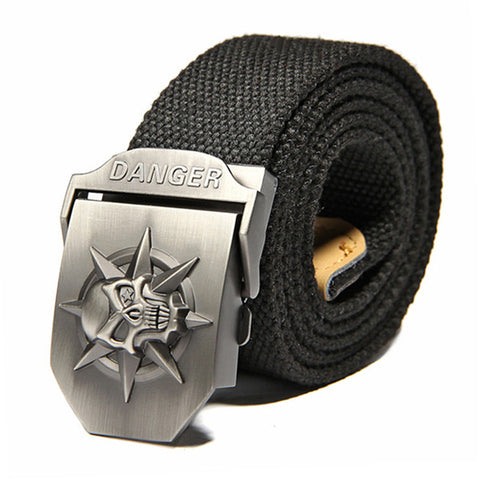 Badass Skull Canvas Belt Men with metal Buckle