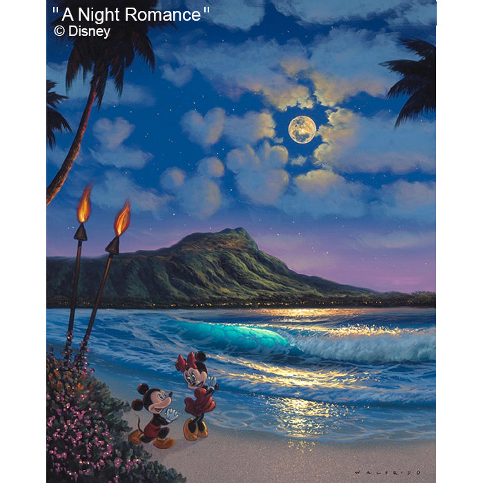 A Night Romance by Hawaii Artist Walfrido featuring the famous Disney couple, Mickey and Minnie Mouse getting engaged in front of Diamond Head Crater in Waikiki.