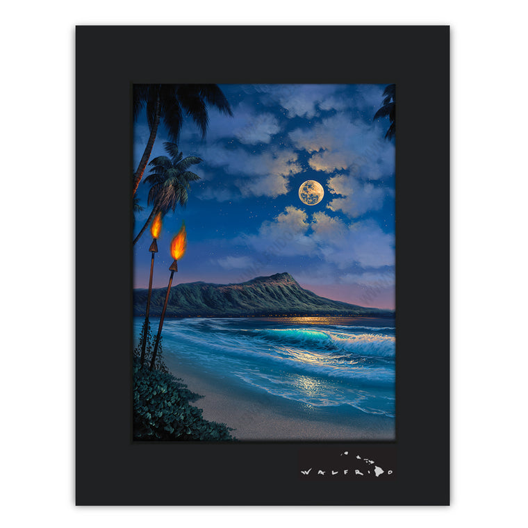A Night for Romance - Open Edition Matted artwork by Tropical Hawaii Artist Walfrido featuring a stunning night view of the famous Diamond Head Crater on Oahu, Hawaii.