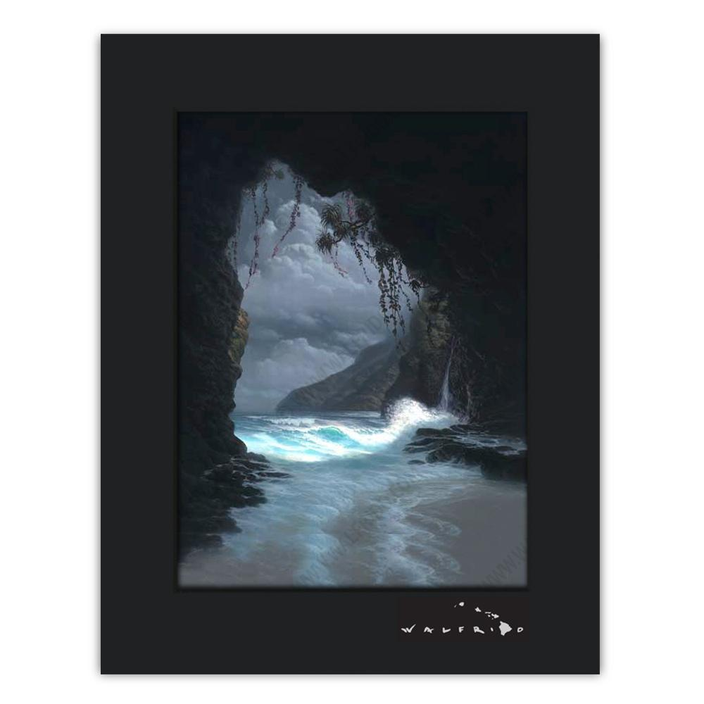 Open Edition Matted artwork by Tropical Hawaii Artist Walfrido featuring a calm view of the ocean as seen from a cave on the shore.