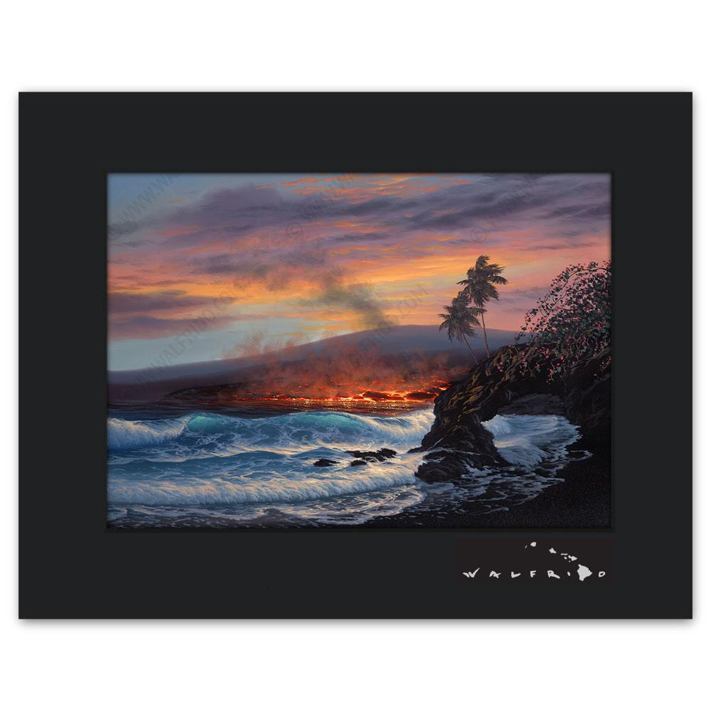 Open Edition Matted artwork by Tropical Hawaii Artist Walfrido featuring lava flowing into the ocean at sunset, sending up steam into the air.