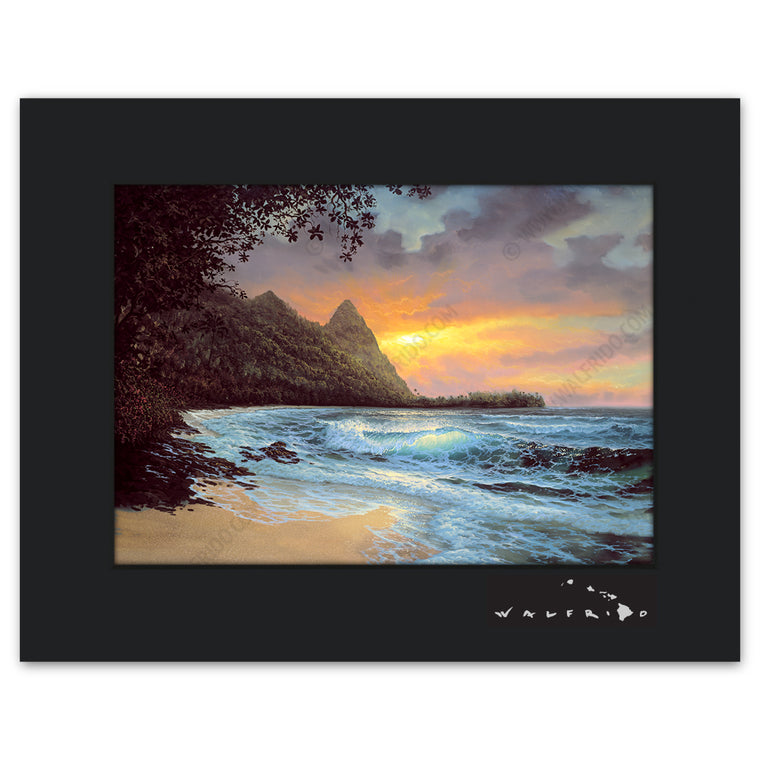 Bali Hi - Open Edition Matted artwork by Tropical Hawaii Artist Walfrido featuring a classic tropical landscape view with the sun setting in the distance.