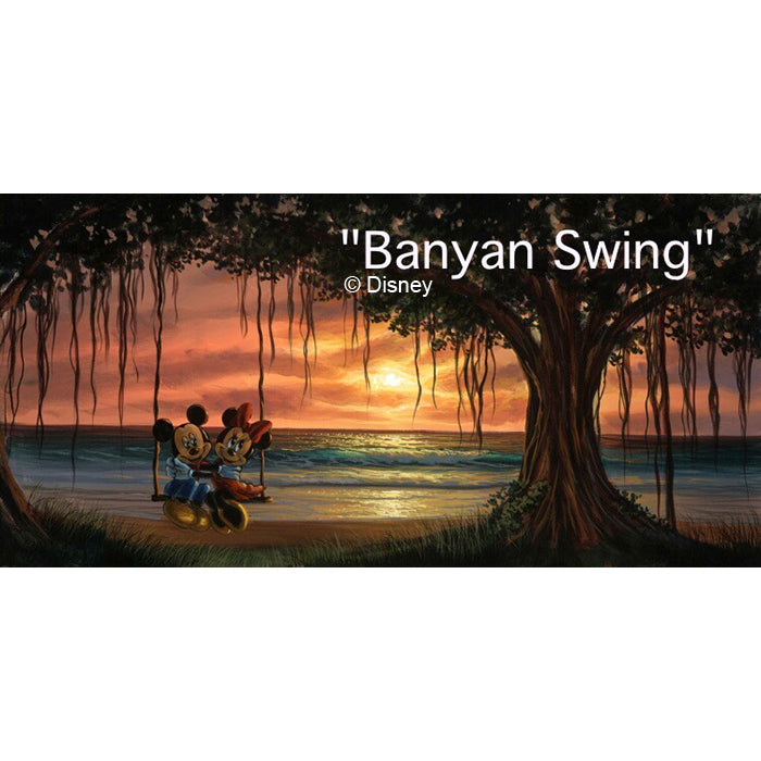 Banyan Swing by Hawaii Artist Walfrido featuring the famous Disney couple, Mickey and Minnie Mouse swinging together under a Banyan Tree during sunset.