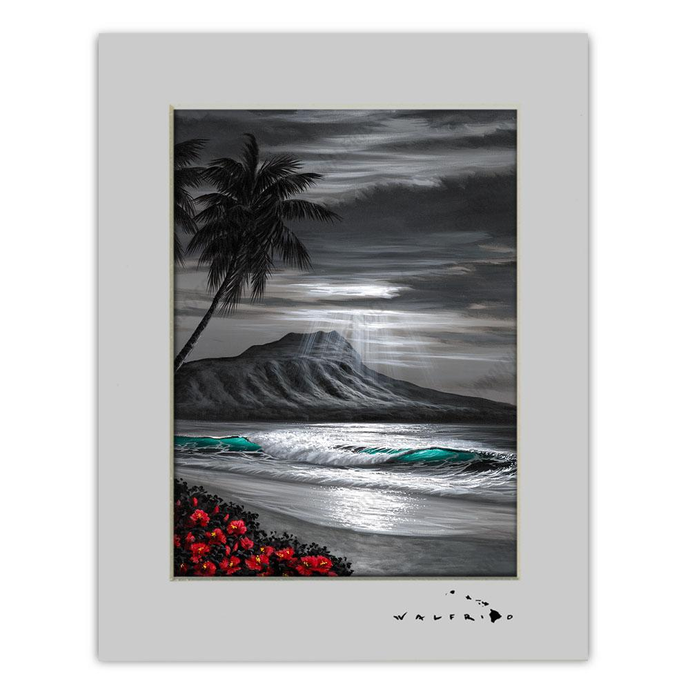 Open Edition Matted artwork by Tropical Hawaii Artist Walfrido featuring a classic view of Diamond Head Crater as seen from a beach in Hawaii. It uses a unique color scheme that is primarily black and white with small additions of color to highlight certain aspects of the piece.
