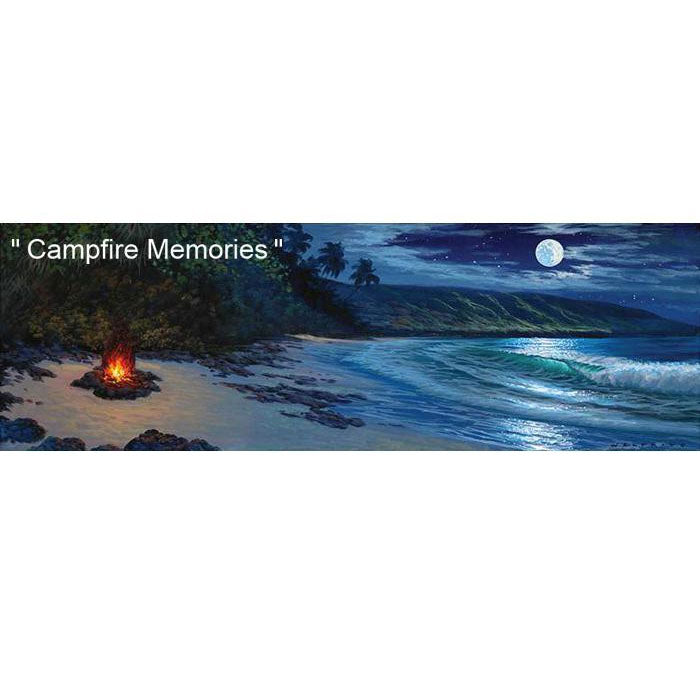 Campfire Memories by Hawaii Artist Walfrido featuring a cozy campfire on the beach during a night with a full moon.