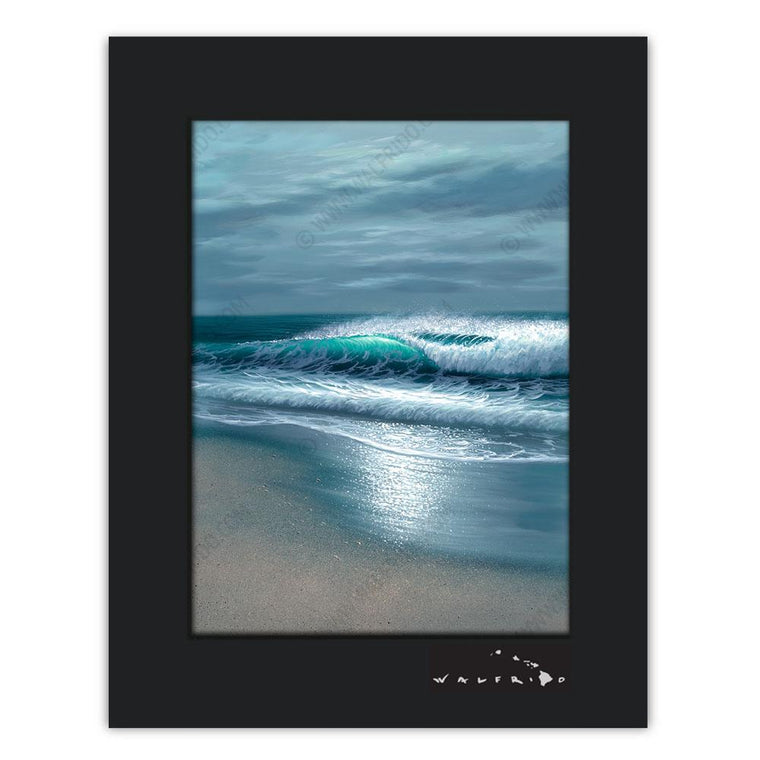 Open Edition Matted artwork by Tropical Hawaii Artist Walfrido featuring a stormy view of the ocean with a wave crashing towards the sandy beach.