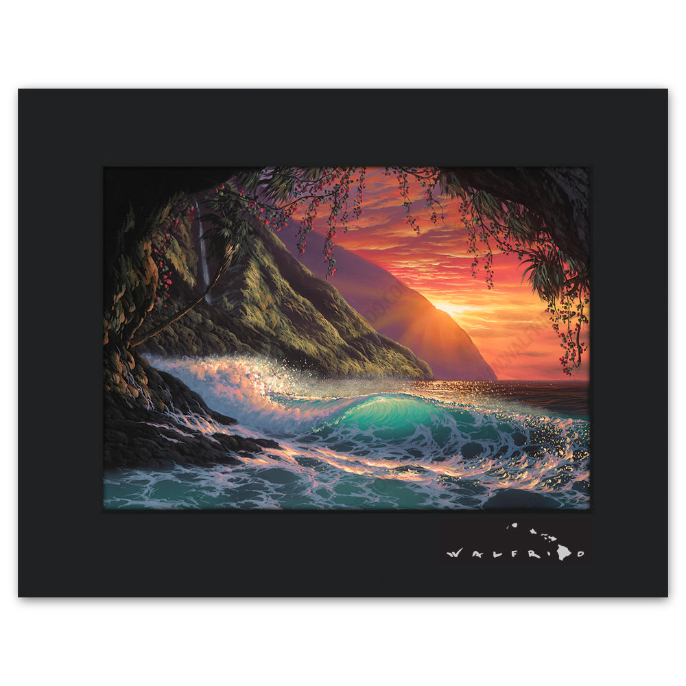 Colors of the Heart - Open Edition Matted artwork by Tropical Hawaii Artist Walfrido featuring a crashing wave as seen from a cove on a sandy Hawaiian beach at sunset.