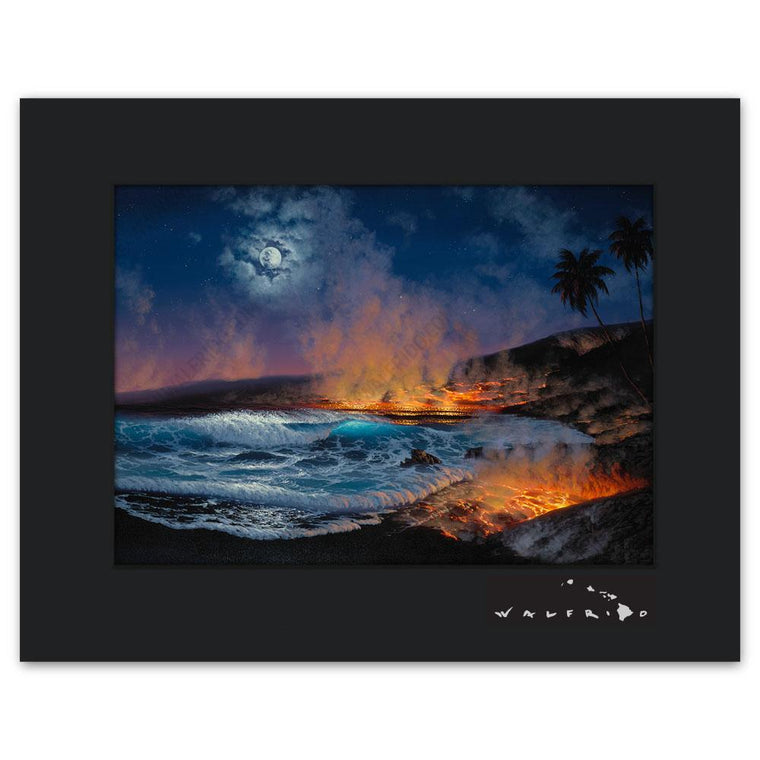 Open Edition Matted artwork by Tropical Hawaii Artist Walfrido featuring a night view of lava flowing into the ocean, steam rising into the air.