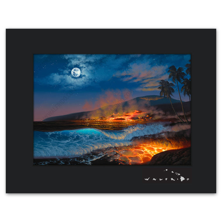 Divine Creation - Open Edition Matted artwork by Tropical Hawaii Artist Walfrido featuring a night view of lava flowing into the ocean, steam rising into the air.