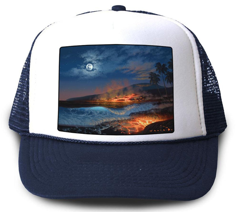 Divine Creation Navy Mesh trucker Hat by Walfrido