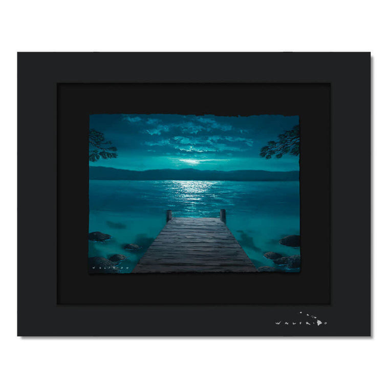 Limited Edition artwork on watercolor paper by Tropical Hawaii Artist Walfrido featuring a night view down a dock towards the ocean, land in the distance.