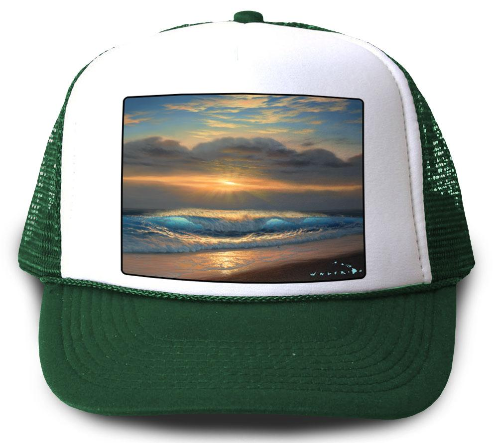 End of a Perfect Day Green Mesh Trucker Hat by Walfrido