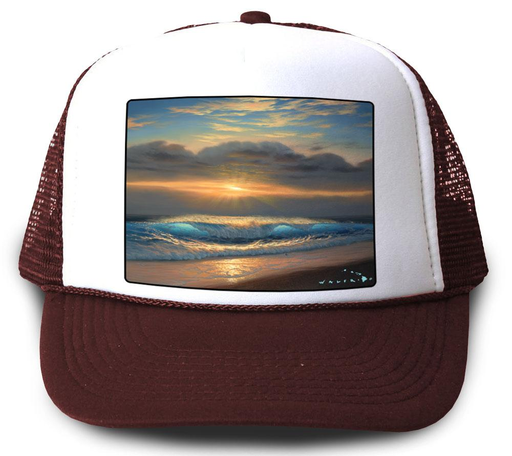 End of a Perfect Day Maroon Mesh Trucker Hat by Walfrido
