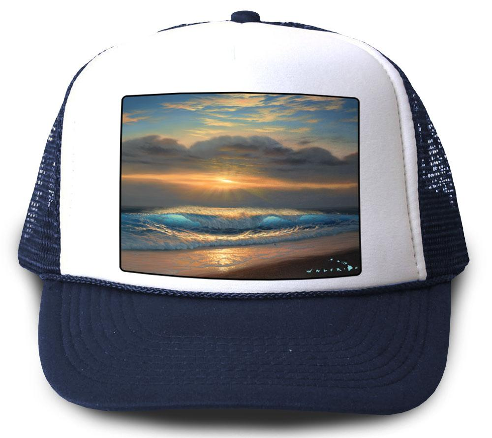 End of a Perfect Day Navy Mesh Trucker Hat by Walfrido