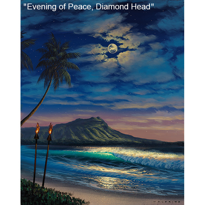 Evening of Peace, Diamond Head - Original Oil Painting by Walfrido