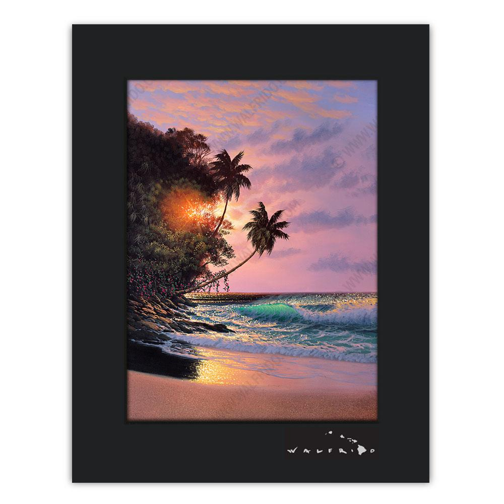 Open Edition Matted artwork by Tropical Hawaii Artist Walfrido featuring a sunset view of the ocean as seen from the tropical beaches of Hawaii.