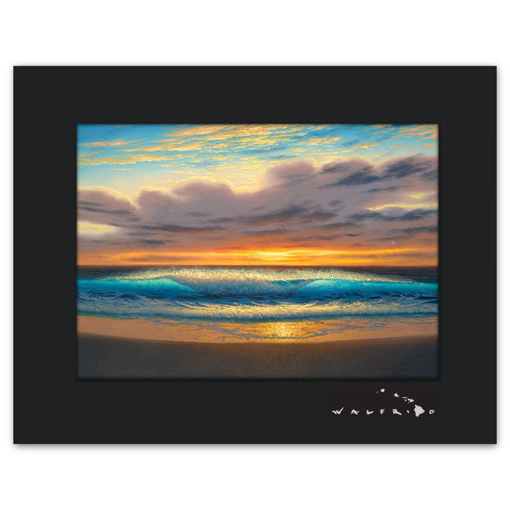 Open Edition Matted artwork by Tropical Hawaii Artist Walfrido featuring waves crashing towards the sandy beach as seen at sunset.