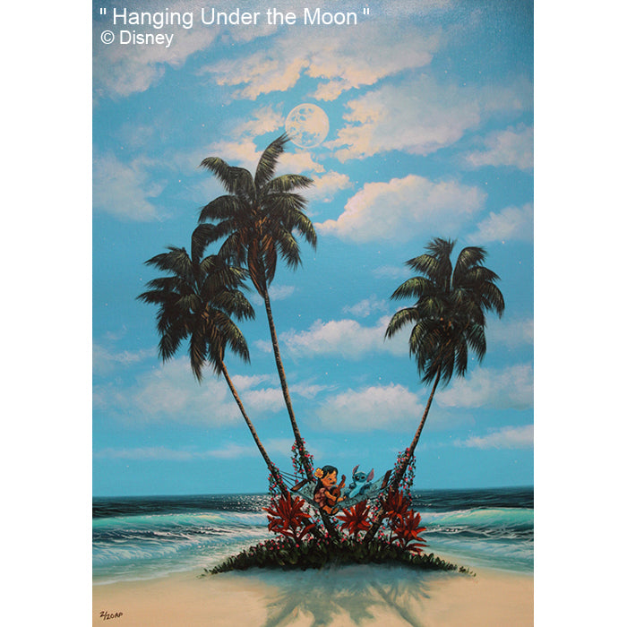 Hanging Under the Moon by Hawaii Artist Walfrido featuring the Disney characters, Lilo and Stitch lazing in a hammock together on a sandy beach.