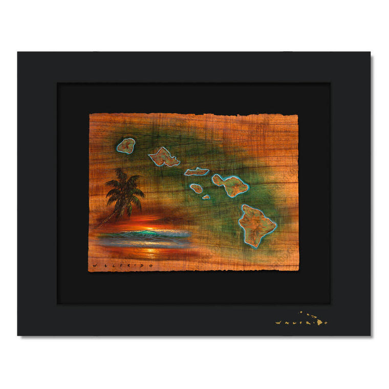 Limited Edition artwork on watercolor paper by Tropical Hawaii Artist Walfrido featuring a map of the Hawaiian Islands on Koa wood grain.
