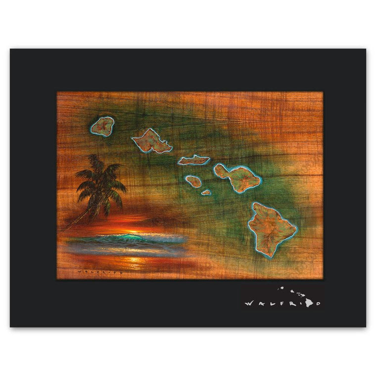Open Edition Matted artwork by Tropical Hawaii Artist Walfrido featuring a map of the Hawaiian Islands on Koa wood grain.