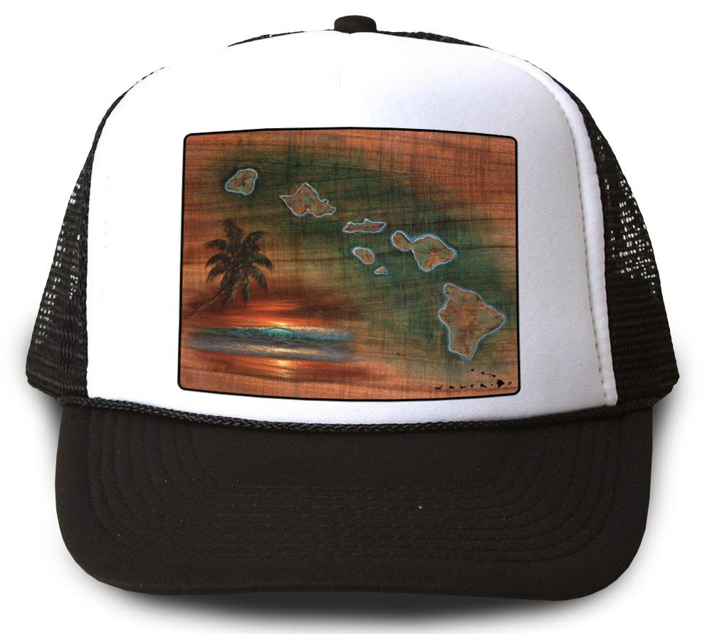 Hawaiian Islands Koa Map Black Mesh Trucker Hat by Walfrido