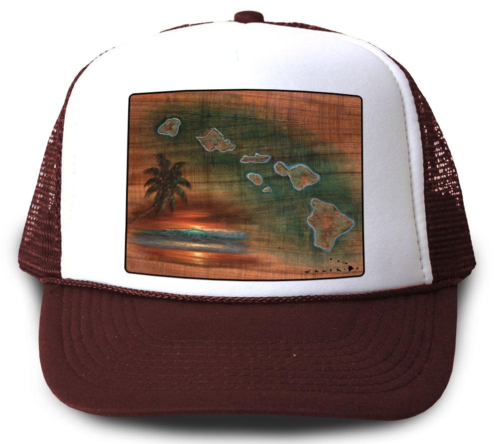 Hawaiian Islands Koa Map Maroon Mesh Trucker Hat by Walfrido