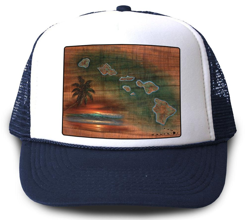 Hawaiian Islands Koa Map Navy Mesh Trucker Hat by Walfrido