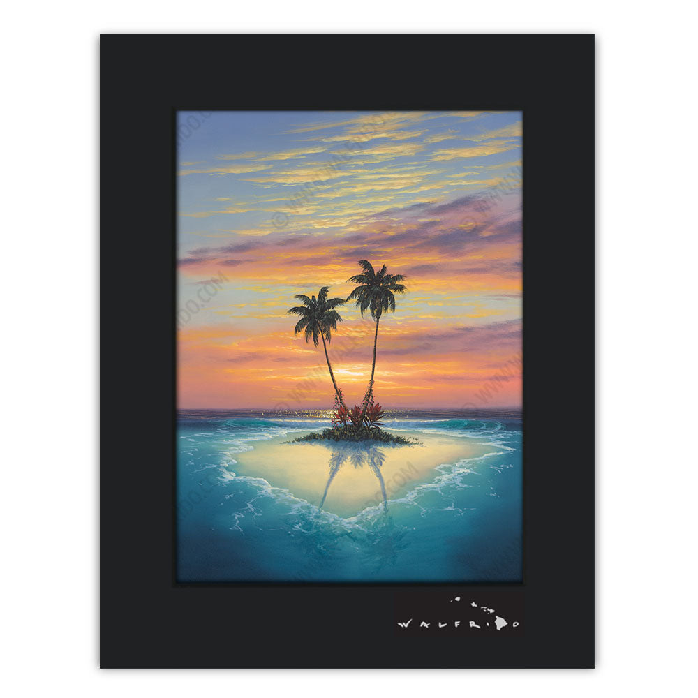 Island Love - Open Edition Matted artwork by Tropical Hawaii Artist Walfrido featuring a small sandy island with two palm trees in the middle of crystal blue waters at sunset.