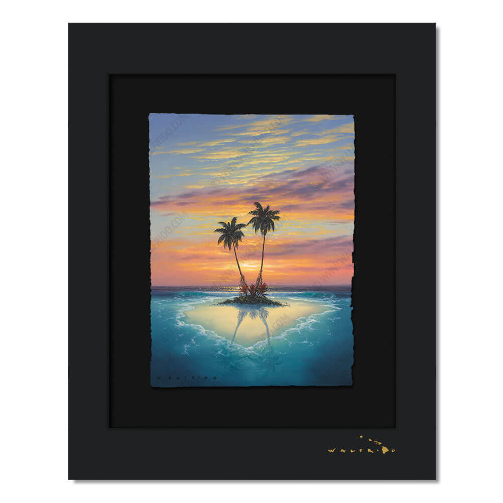Limited Edition artwork on watercolor paper by Tropical Hawaii Artist Walfrido featuring a small sandy island with two palm trees in the middle of crystal blue waters at sunset.