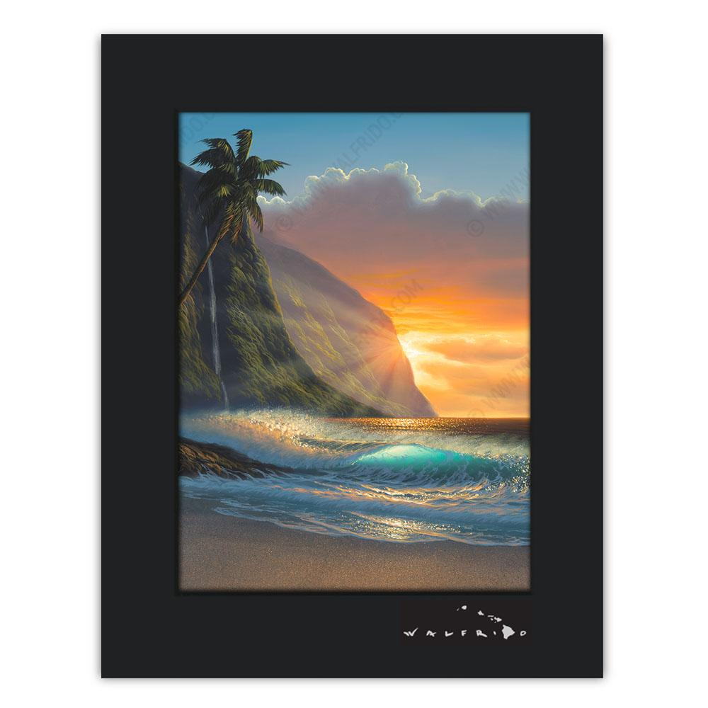 Open Edition Matted artwork by Tropical Hawaii Artist Walfrido featuring a beach view with the sun peaking out from behind the cliffs.