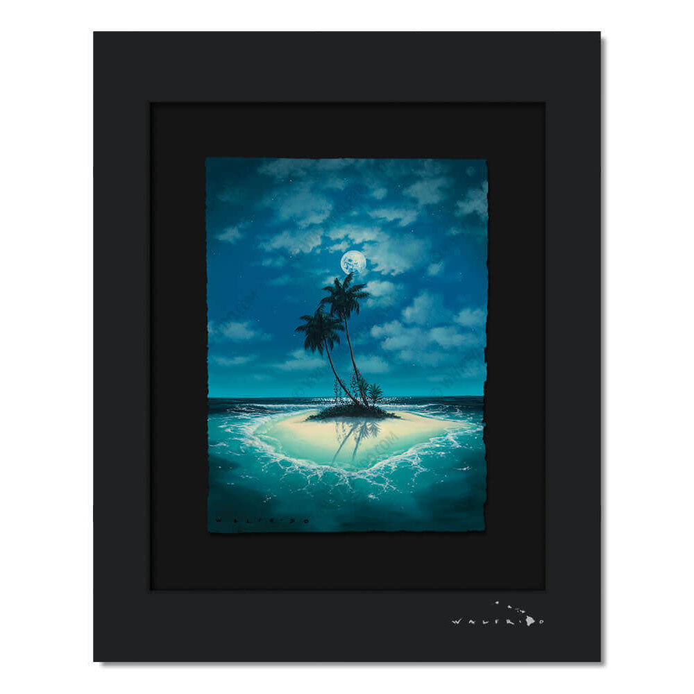 Limited Edition artwork on watercolor paper by Tropical Hawaii Artist Walfrido featuring a small sandy island with two palm trees in the middle of crystal blue waters at night.