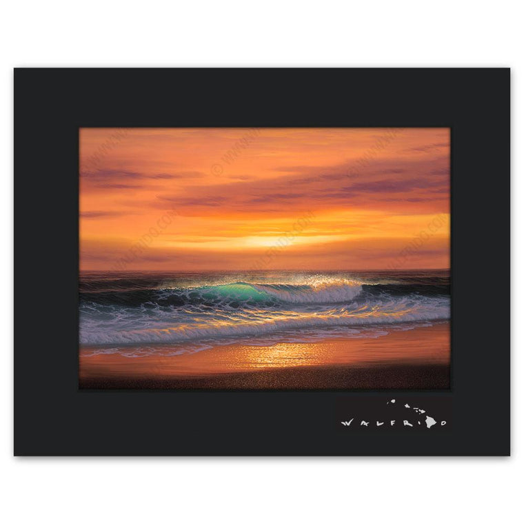 Open Edition Matted artwork by Tropical Hawaii Artist Walfrido featuring a sunset view of a wave barreling towards the sandy shores.