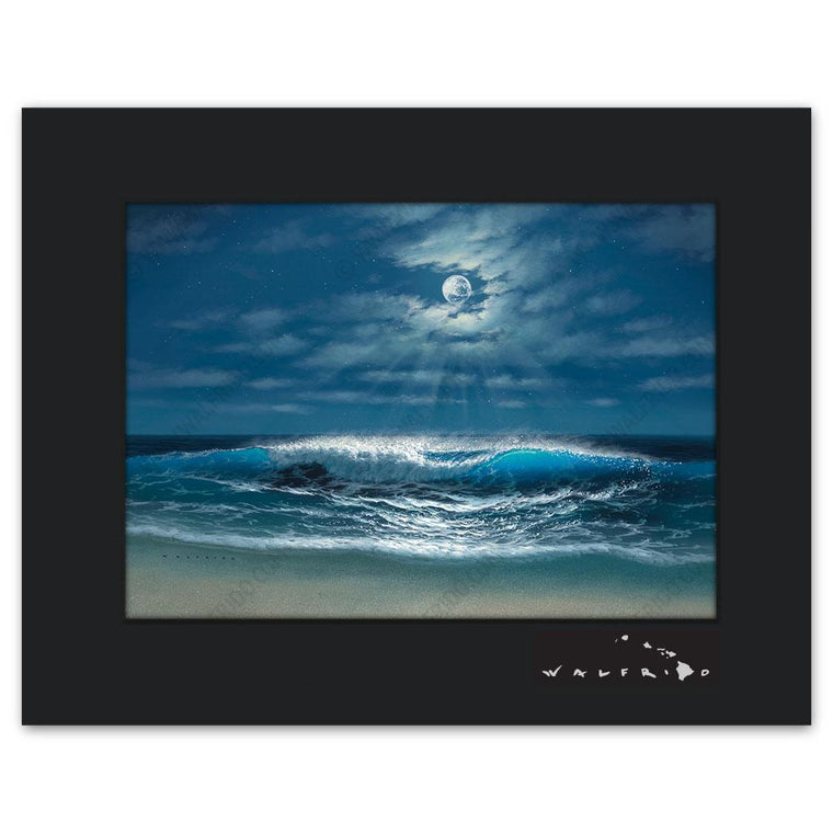 Open Edition Matted artwork by Tropical Hawaii Artist Walfrido featuring a night view of a wave barreling towards the sandy shores with the full moon shining above.