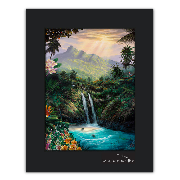 Living Aloha - Open Edition Matted artwork ohana collaboration by Tropical Hawaii Artists Walfrido, Edgardo F. Garcia, and Edgardo Garcia II. It features a stunning view of an island waterfall with turtles swimming below.