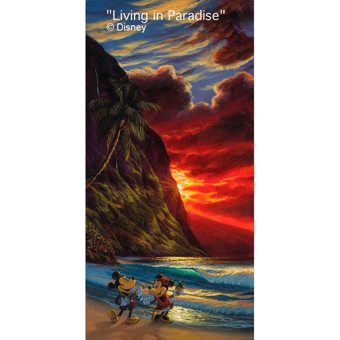 Living in Paradise by Hawaii Artist Walfrido featuring the famous Disney couple, Mickey and Minnie Mouse taking a sunset stroll down the tropical beaches of Hawaii.