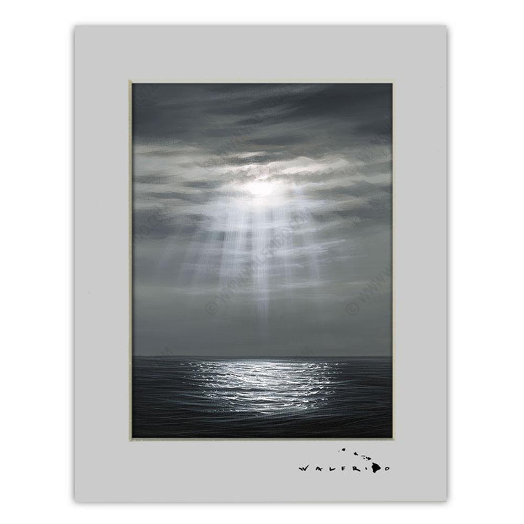 Open Edition Matted artwork by Tropical Hawaii Artist Walfrido featuring a beautiful view of the suns rays peeking through the clouds and onto the calm waters of the ocean.
