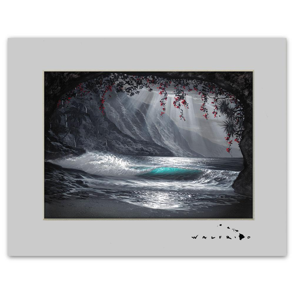 Open Edition Matted artwork by Tropical Hawaii Artist Walfrido featuring a wave as seen from a cove on a beach in Hawaii.
