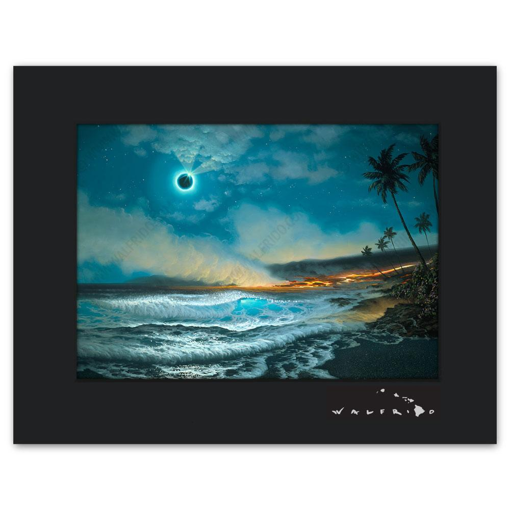 Open Edition Matted artwork by Tropical Hawaii Artist Walfrido featuring a lunar eclipse and lava from a volcano flowing into the sea, causing steam to rise up into the night air.