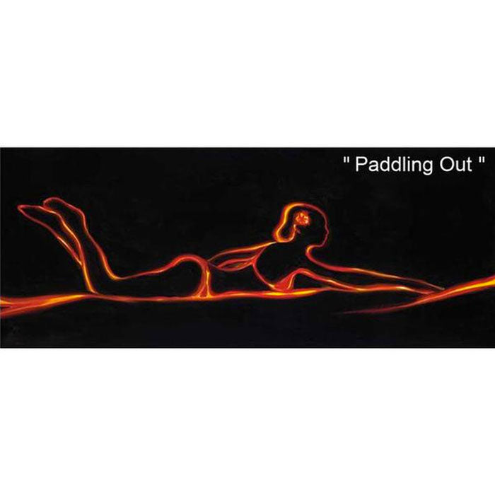 Paddling Out by Hawaii Artist Walfrido featuring a woman paddling out to catch the perfect wave.