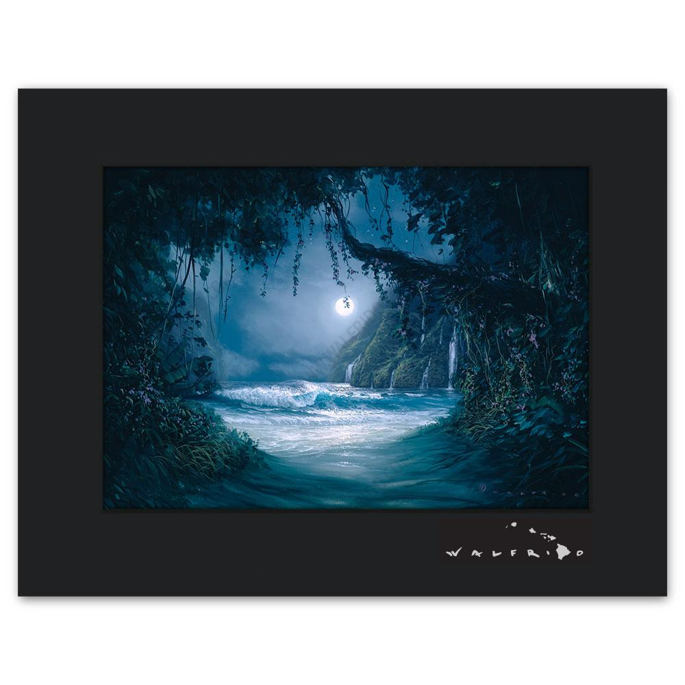 Open Edition Matted artwork by Tropical Hawaii Artist Walfrido featuring a night view from a path leading down to the beach and ocean.