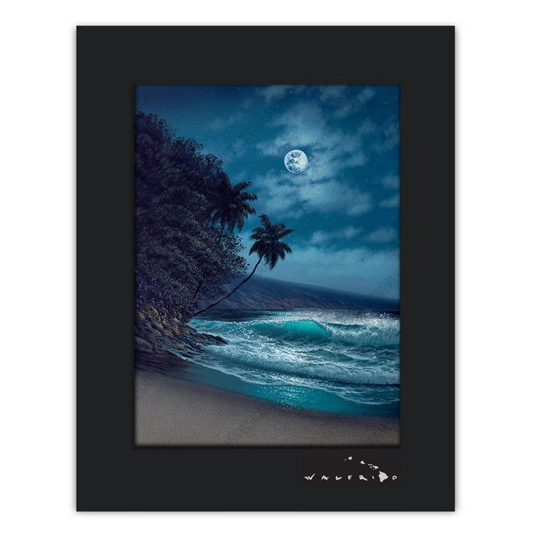 Open Edition Matted artwork by Tropical Hawaii Artist Walfrido featuring a night view of ocean waves and sandy beaches.